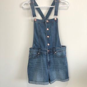 Women's Guess Denim Overalls with Rose Gold Button